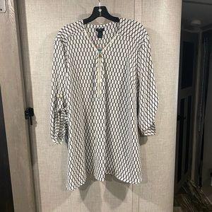 Rue21 4X Blouse Tunic Zip White Black